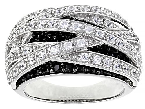 Photo of Bella Luce® 3.3ctw Black Spinel and White Diamond Simulant Rhodium Over Sterling Silver Ring - Size 7
