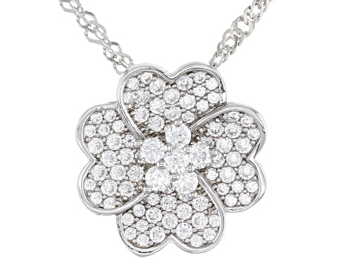 Photo of Bella Luce ® 1.08ctw Rhodium Over Sterling Silver Flower Pendant With Chain (0.73ctw DEW)