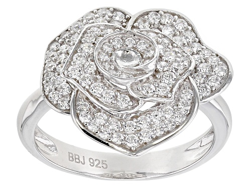 Photo of Bella Luce ® 0.93ctw Rhodium Over Sterling Silver Flower Ring (0.74ctw DEW) - Size 7