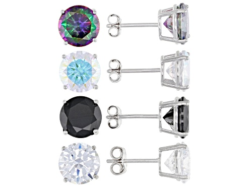 Photo of Bella Luce® 27.68ctw Multi Gem and Diamond Simulants Rhodium Over Silver Stud Earrings Set of 4
