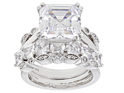 Photo of Bella Luce® 14.67ctw Rhodium Over Sterling Silver Asscher Cut Ring with 3 Bands (10.24ctw DEW) - Size 8