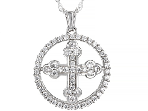 Photo of Bella Luce® 1.99ctw Rhodium Over Sterling Silver Cross Pendant With Chain (0.99ctw DEW)
