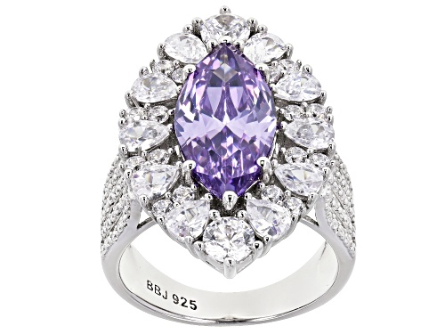 Photo of Bella Luce ® 10.72ctw Lavender and White Diamond Simulants Rhodium Over Silver Ring (7.13ctw DEW) - Size 7