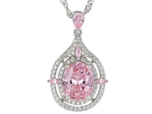 Photo of Bella Luce®5.60ctw Pink & White Diamond Simulants Rhodium Over Silver Pendant W/Chain (3.12ctw DEW)