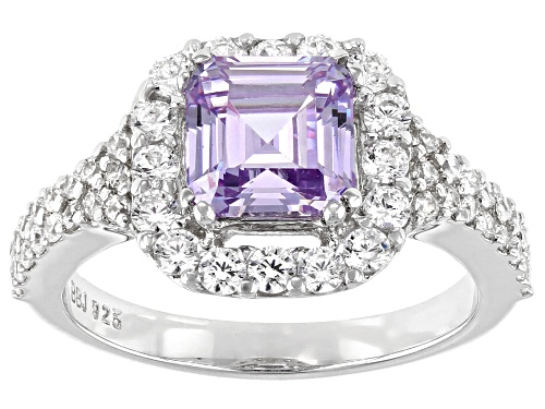 Photo of Bella Luce® 4.50ctw Asscher Lavender And White Diamond Simulants Rhodium Over Silver Ring - Size 10