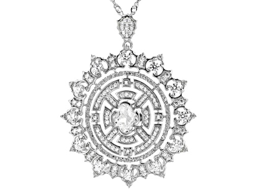 Photo of Bella Luce ® 4.43ctw White Diamond Simulant Rhodium Over Silver Pendant With Chain (1.75ctw DEW)