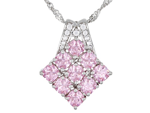 Photo of Bella Luce ® 4.58ctw Pink And White Diamond Simulants Rhodium Over Silver Pendant With Chain