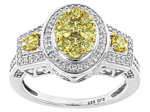Photo of Bella Luce ® 1.80ctw Canary And White Diamond Simulants Rhodium Over Silver Ring (0.81ctw DEW) - Size 8
