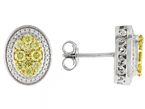 Photo of Bella Luce ® 2.03ctw Canary And White Diamond Simulants Rhodium Over Silver Earrings (0.93ctw DEW)
