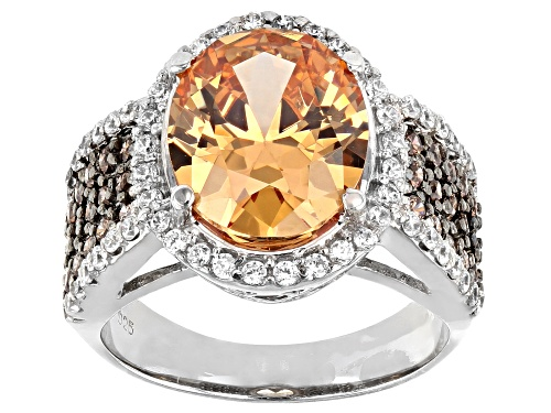 Photo of Bella Luce ® 11.51ctw Champagne, Mocha, And White Diamond Simulants Rhodium Over Silver Ring - Size 8