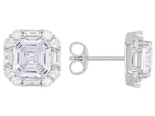Photo of Bella Luce ® 7.17ctw Asscher Cut White Diamond Simulant Rhodium Over Sterling Silver Earrings