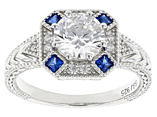Photo of Bella Luce ® 2.73ctw Lab Created Blue Spinel And White Diamond Simulant Rhodium Over Silver Ring - Size 12