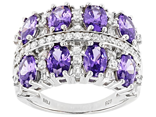 Photo of Bella Luce ® 6.87ctw Amethyst And White Diamond Simulants Rhodium Over Silver Ring - Size 7
