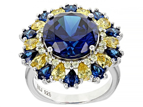 Photo of Bella Luce ® 16.06ctw Blue Sapphire And Canary Diamond Simulants Rhodium Over Silver Ring - Size 8