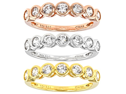 Photo of Bella Luce ® 3.78ctw Rhodium Over Sterling Silver And Eterno™ Yellow And Rose Band Rings Set of 3 - Size 8