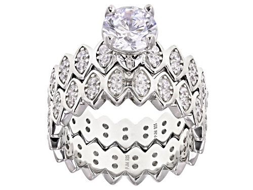 Photo of Bella Luce® 4.46ctw Rhodium Over Sterling Silver Ring With Band (2.45ctw DEW) - Size 7
