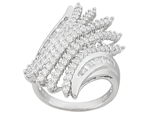 Photo of Bella Luce ® 3.38ctw Round And Baguette Rhodium Over Sterling Silver Ring - Size 5