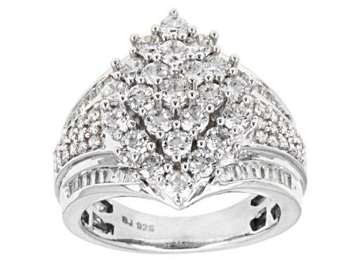 Photo of Bella Luce ® 4.05ctw Round & Baguette Rhodium Over Sterling Silver Ring - Size 5
