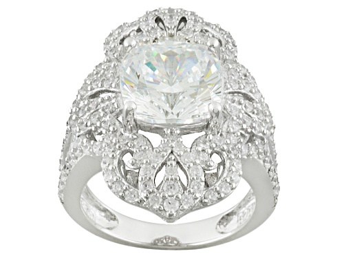 Bella Luce ® 10.45ctw Cushion Amkor Cut And Round Rhodium Over Sterling Silver Ring - Size 5