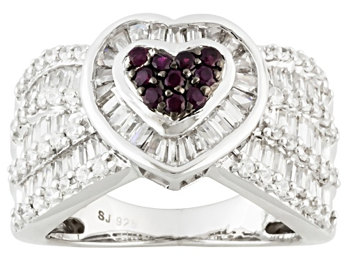 Photo of Bella Luce ® 3.00ctw Lab Created Ruby & Diamond Simulant Rhodium Over Silver Heart Ring - Size 7