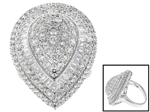 Photo of Bella Luce ® 5.71ctw Round And Baguette Rhodium Over Sterling Silver Ring - Size 5