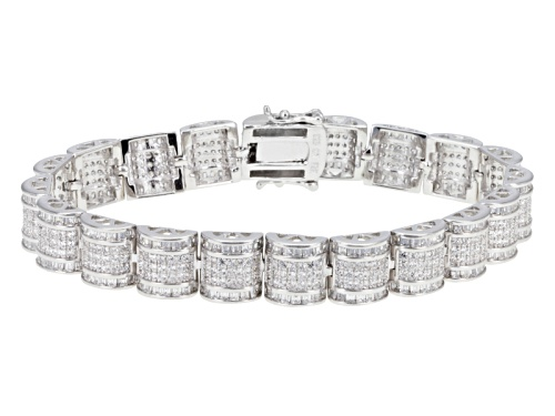 Photo of Bella Luce ® 5.64ctw Round And Baguette Rhodium Over Sterling Silver Bracelet - Size 7.5