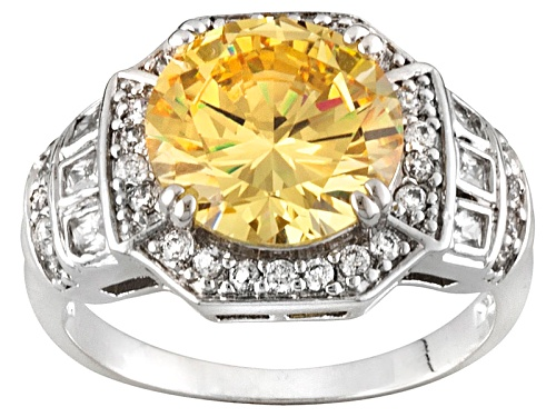 Photo of Bella Luce ® 7.22ctw Canary Yellow And White Diamond Simulant Rhodium Over Sterling Silver Ring - Size 5