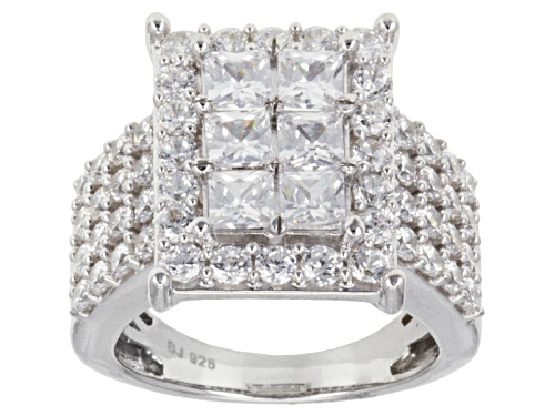 Photo of Bella Luce ® 6.55ctw Princess Cut And Round Rhodium Over Sterling Silver Ring (3.50ctw Dew) - Size 7