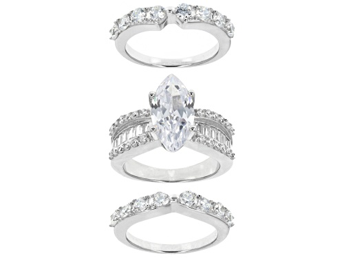 Photo of Bella Luce ® 6.90ctw Diamond Simulant Rhodium Over Sterling Silver Ring With Bands (4.40ctw Dew) - Size 11