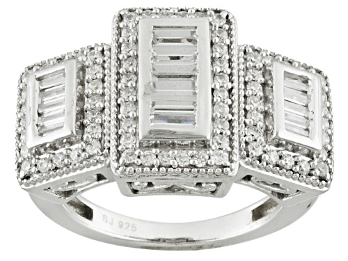 Photo of Bella Luce ® 2.20ctw Baguette & Round Rhodium Over Sterling Silver Ring (1.40ctw Dew) - Size 5