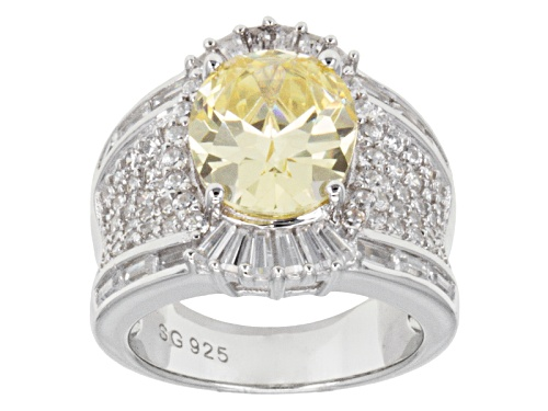 Photo of Bella Luce ® 11.80ctw Canary & White Diamond Simulant Rhodium Over Silver Ring (7.42ctw Dew) - Size 5