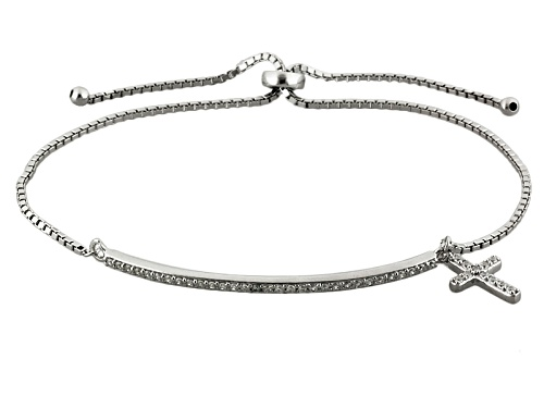Photo of Bella Luce ® .63ctw Diamond Simulant Rhodium Over Silver Adjustable Cross Bracelet (.42ctw Dew)