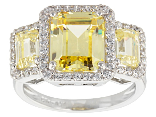 Photo of Bella Luce ® 10.60ctw Yellow & White Diamond Simulant Rhodium Over Silver Ring (5.61ctw Dew) - Size 7