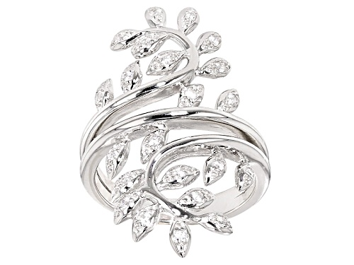 Photo of Bella Luce ® .40ctw Diamond Simulant Round Rhodium Over Sterling Silver Ring (.22ctw Dew) - Size 5