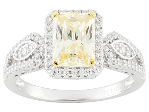 Photo of Bella Luce ® 3.67ctw Canary & White Diamond Simulant Rhodium Over Silver Ring (2.31ctw Dew) - Size 12