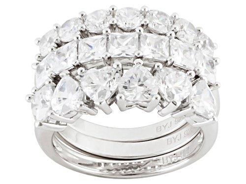 Photo of Bella Luce ® 5.08ctw Diamond Simulant Rhodium Over Sterling Silver Ring Set Of 3 (3.53ctw Dew) - Size 5
