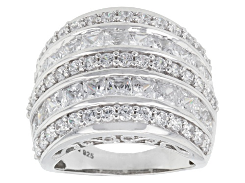 Photo of Bella Luce ® 8.73ctw Diamond Simulant Princess Cut & Round Rhodium Over Silver Ring (5.28ctw Dew) - Size 5