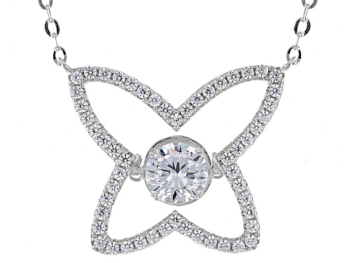 "Photo of Bella Luce® 2.56ctw Rhodium Over Sterling Silver ""Dancing Bella"" Butterfly Necklace (1.57ctw Dew) - Size 16"