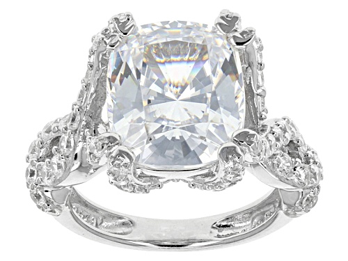 Photo of Bella Luce ® 11.10ctw Amkor Cut Square And Round Rhodium Over Sterling Silver Ring (7.94ctw Dew) - Size 5