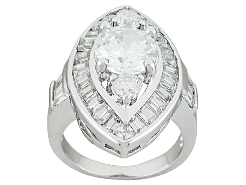 Photo of Bella Luce ® 7.03ctw Diamond Simulant Rhodium Over Sterling Silver Ring (3.59ctw Dew) - Size 5