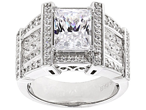 Photo of Bella Luce ® 6.40ctw Diamond Simulant Rhodium Over Sterling Silver Ring (4.29ctw Dew) - Size 10