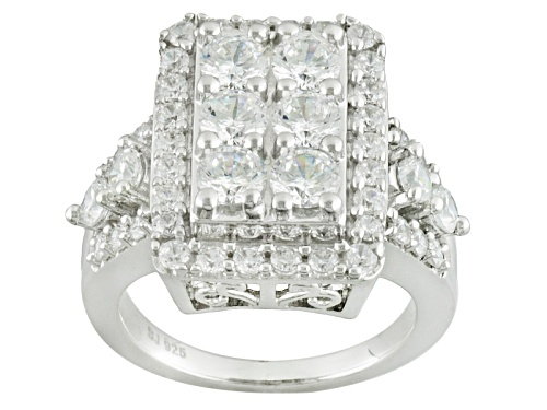 Photo of Bella Luce ® 5.41ctw Diamond Simulant Round Rhodium Over Sterling Silver Ring (2.89ctw Dew) - Size 5