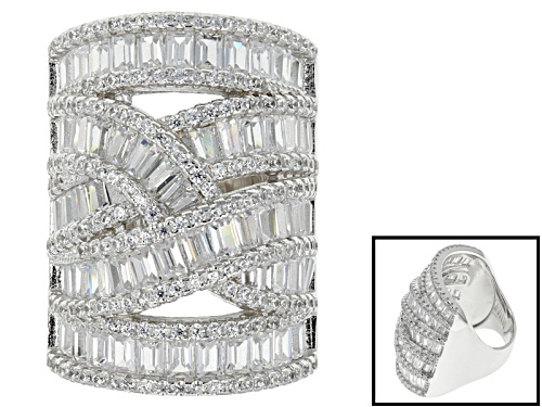 Photo of Bella Luce ® 11.02ctw Round And Baguette Rhodium Over Sterling Silver Ring (6.49ctw Dew) - Size 7