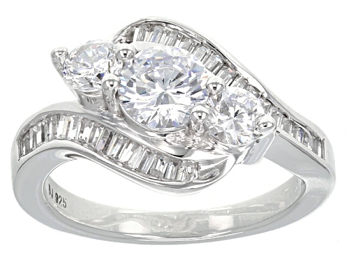 Photo of Bella Luce ® 3.15ctw Diamond Simulant Round & Baguette Rhodium Over Silver Ring (1.94ctw Dew) - Size 11