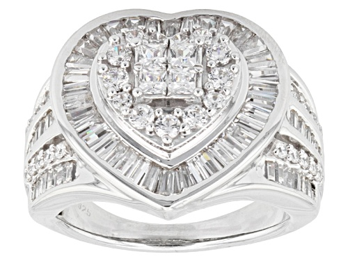 Photo of Bella Luce ® 3.75ctw Diamond Simulant Rhodium Over Sterling Silver Heart Ring (2.79ctw Dew) - Size 6