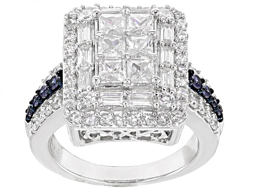 Bella Luce ® 4.15ctw White & Blue Sapphire Simulants Diamond Simulant Rhodium Over Sterling Ring - Size 10