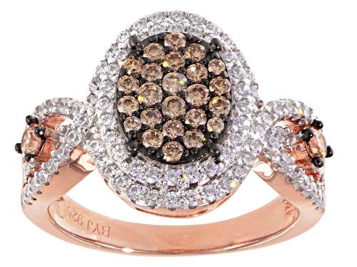 Photo of Bella Luce ® 1.95ctw Champagne & White Diamond Simulant Round Eterno ™ Rose Ring (1.05ctw Dew) - Size 7