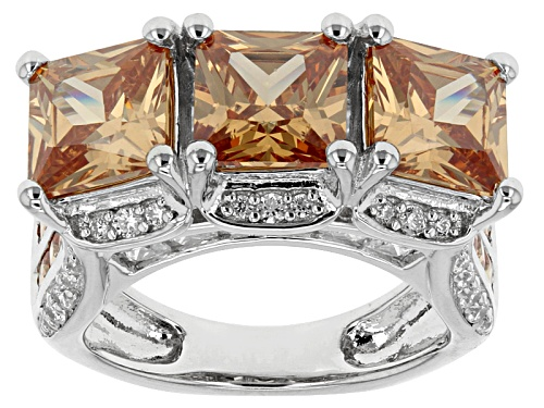 Photo of Bella Luce® 10.20ctw Champagne And White Diamond Simulants Rhodium Over Sterling Sivler Ring - Size 5