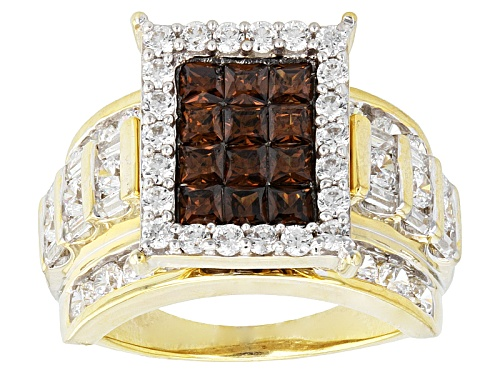 Photo of Bella Luce ® 6.37ctw Mocha & White Diamond Simulant Eterno ™ Yellow Ring (3.85ctw Dew) - Size 5