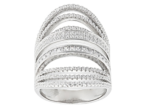 Photo of Bella Luce ® 3.02ctw Round And Baguette Rhodium Over Sterling Silver Ring (1.72ctw Dew) - Size 6